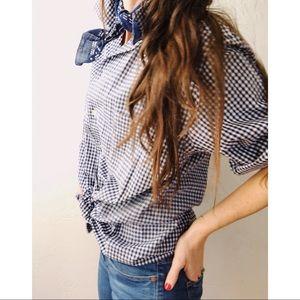 Tops - Vintage Italian Blue & White Check Button Shirt